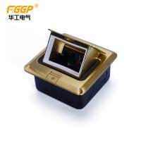 Buy Floor Mount Pop Up Power Socket Box Brushed Brass Finish Empty 3 Module at wholesale prices