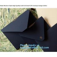 Quality MAKE western style high quality gold foil gift envelope Matt black card paper envelope in A4 A5 B5 C5 C6 A3 size with cu for sale