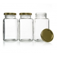 China Spice Herbs FDA 200ml Square Glass Jars With Lid on sale
