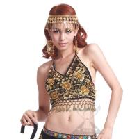 Flared Sleeve Sequin Halter Belly Dance Coin Tops With Shining Flower Pattern