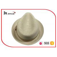 Quality Panama 100% Paper Wide Brimmed Straw Hat Natural Color With Light Brown Band for sale