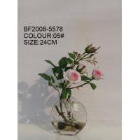 Quality artificial flower of rose in glass pot for sale