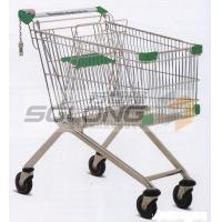 Unfolding Colored Supermarket Shopping Trolley Baskets Steel Material