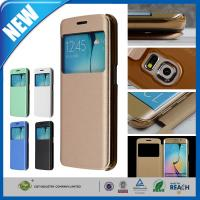 China Unique View Window Flip Shockproof PU Leather Protective Cover , Samsung S6 Edge Cases on sale
