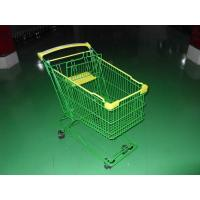 Quality Colored Coated Wicker Shopping Trolley with curved plastic handle for sale