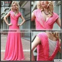 Quality New Arrival Custom Made V-neck Red Pleat Beaded Chiffon Long Evening Dresses 2015 for sale