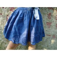 Blue Embroidery Cotton Little Girls Denim Skirt , Eyelet Girls Summer Skirts With Bow