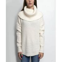 China Women's 55% nylon/35% acrylic/10% wool knitted pullover cowl neck sweater on sale