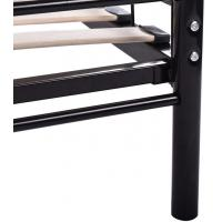 Buy Durable black Metal Frame Bed / Steel Frame Bed With Wood Slat Contemporary Bedroom Furniture at wholesale prices