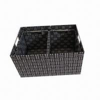 Quality Hand-weaved S/3 PP Strap Storage Basket with Cut Handle for sale