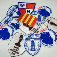Buy High quality Tatami fabric custom FC  Flocking patch for sports team label patch in round shape at wholesale prices