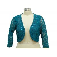 China 100% Polyester Lace Fabric Casual Ladies Wear Half Length Cardigan With Paillette on sale