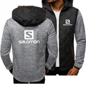 China casual coat Autumn Winter fashion hoodies men Sweatshirts Salomon printed spliced Long sleeve Casual Coat jacket on sale