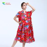 China Natural Waistline Long Cotton Summer Dresses Chinese Style Pattern ZTZS501 on sale