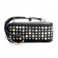 Long Handle Genuine Authentic Leather Girl Wristlet Bag With Rivets Hardware