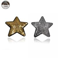 Quality Sew On Style Sequin Star Patch , OEM Gold Star Applique Merrowed Border for sale