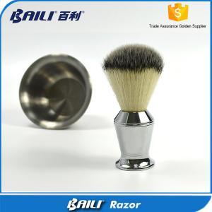 Quality 60mm Hair Height Mans Soft Shaving Nylon Hair Brush Metal Handle for sale