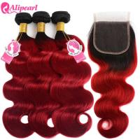 Quality 1B/Red Body Wave Hair Ombre Color Human Hair Bundles With Lace Closure for sale