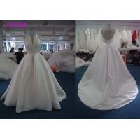 China Simple Satin A Line Halter Female Wedding Dress With Zipper Back Backless Design on sale