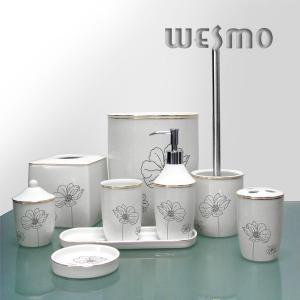 Quality 9 Pcs Gracious Flowers Printed Porcelain Bathroom Accessories Set for sale