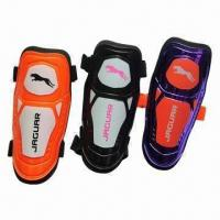Quality Sports Shin Guards, Various Colors and Sizes are Available, Made of PP Shell/Black Elastic Strap for sale