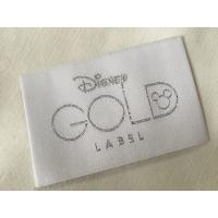 Quality Disney Gold Bage End Fold Woven Clothing Labels Cold Cut / Heat Cut for sale