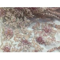 Quality 47 Inch Pink Embroidered Heavy Beaded Lace Fabric By The Yard With Scalloped Edge for sale