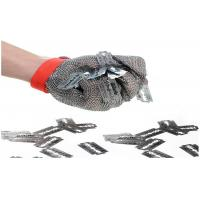Quality Butcher Stainless Steel Mesh Safety Gloves Flexible Wrist Strap For Home Slaughtering for sale