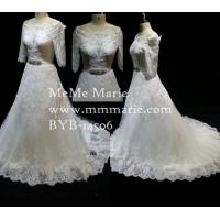 Quality Bridal Gown Luxury Rhinestone Belt Vintage Fabric Lace Wedding Dress BYB-14506 for sale