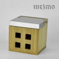 Quality WTB0310B Eco - Friendly Stainless Steel and Bamboo Jewelry Box With Mirror for sale