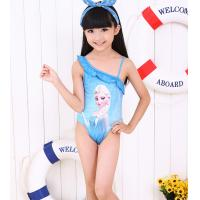 Quality wholesale ruffle neck line Blue Frozen Elsa Anna Swimwear Girls Swimming Suit Costume Beachwear Age 2-10 for sale