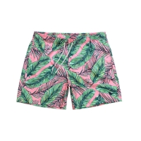 Quality Summer Leaves Printing Polyester 0.15kg Mens Casual Beach Shorts for sale