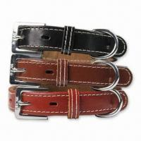 Pet Collars, Made of Leather, Customized Printings are Accepted