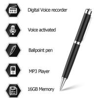 Quality Digital Audio Voice Activated Recorder Pen / Ballpoint Pen / Dictaphone / MP3 Player / One Button Recording for sale