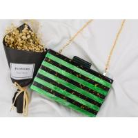 Pearl Gold Foil Acrylic Clutch Bag Light Green And Black Color With Splicing Black Bottom