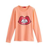 Quality Kiss Long Sleeve T-shirt (Women) Coral for sale