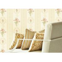 Quality Concise European Flower Strippable Living Room Wallpaper With Vertical Striped for sale