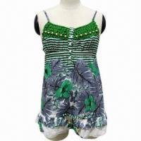 China Ladies' dress, halter style, with floral pattern on sale