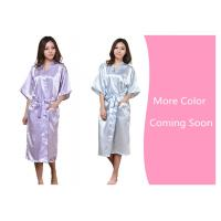 China Twisted satin nightgown emulation silk ladies nightgown summer solid color silk long bathrobe Japanese kimono cardigan r on sale