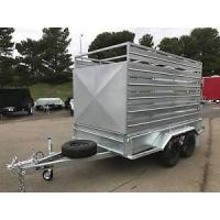 Quality Heavy Duty Cattle Crate Trailer With Stock Crates , Tandem 12 x 6 Box Trailer for sale