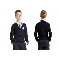 Buy Navy Blue V Neck School Uniform Sweaters Cardigan Simple Pattern For Boys at wholesale prices
