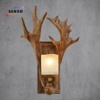 Quality Maso Flat Antler Wall Sonce Lamp 340*450 Resin Factory Directly Manufacture E14/E27 Lamp Base Edison LED Bulb MS-W2007 for sale
