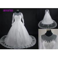 China Real Pictures Beautiful A Line Ball Gown Wedding Dress With Long Sleeves And Train on sale