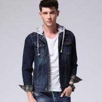 China Classic Button Down Denim Jacket With Hoodie For Men , Mens Work Denim Suits on sale