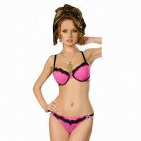 Quality Women's underwear set/Parisian bra set, made of nylon and lace for sale