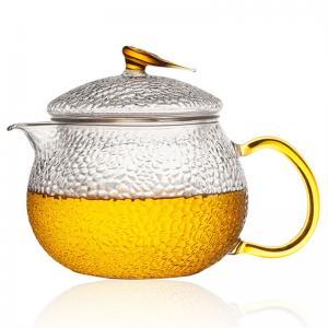 China High Temperature Resistant Borosilicate Glass Teapot , Glass Filter Flower Teapot Set on sale