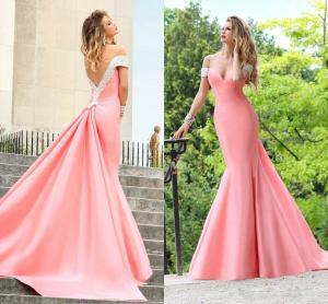 China Tarik Ediz Long Evening Party Dresses Sheath Pink Satin Backless , Formal Gowns on sale
