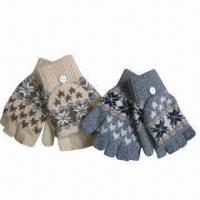 Quality Jacquard magic half fingers gloves with cap for sale