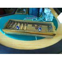 Buy cheap 5 ROW Gold Inlay Metal Dealer Chip Tray , 68cm Two Hole Casino Accessories product