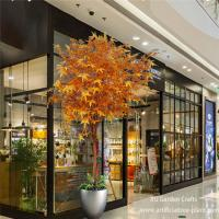 Customized Autumn Leaves Artificial Maple Leaves With Wood Trunk / Fake Maple for sale